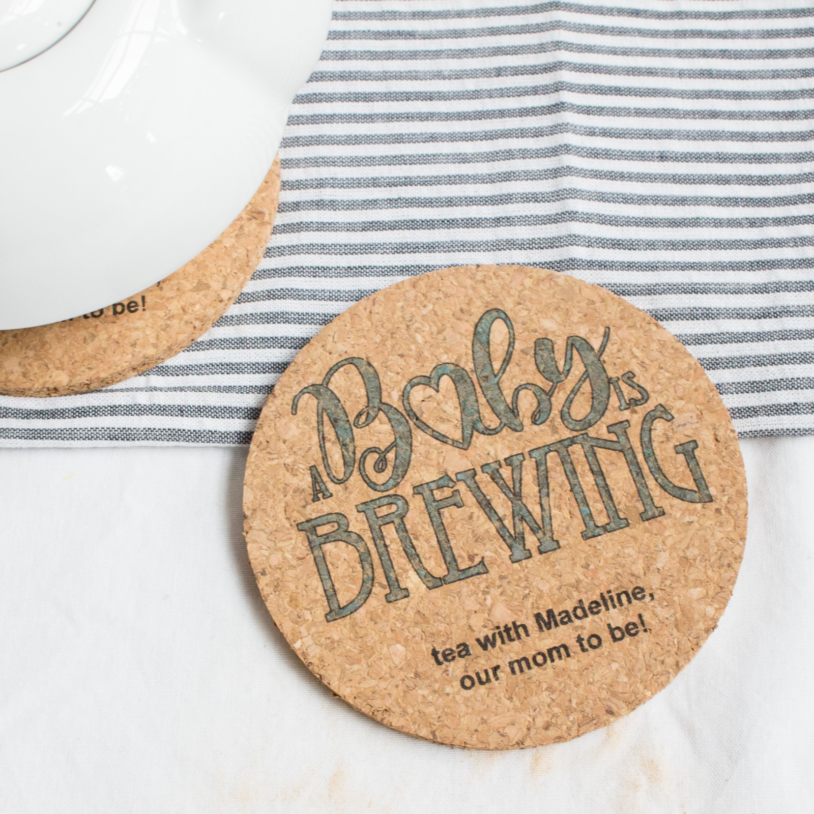 Personalized Baby Shower Cork Coasters 8351