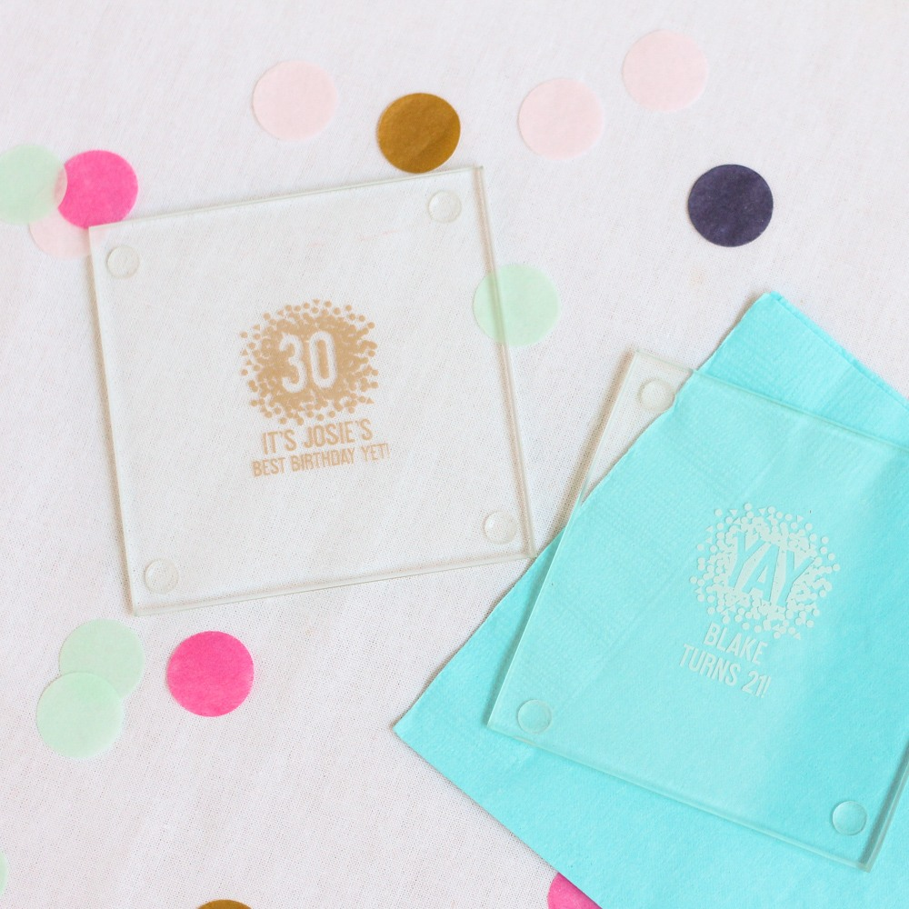Personalized Confetti Birthday Glass Coasters