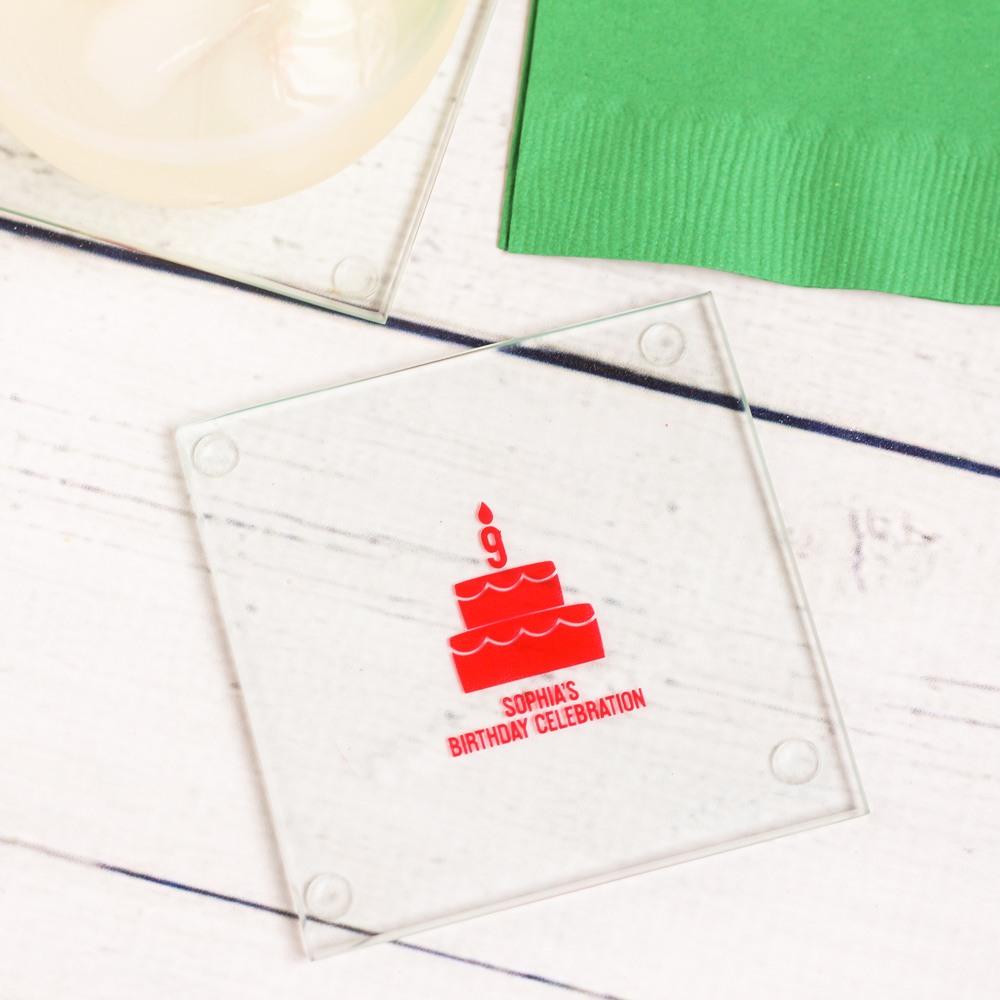 Personalized Birthday Cake Glass Coaster