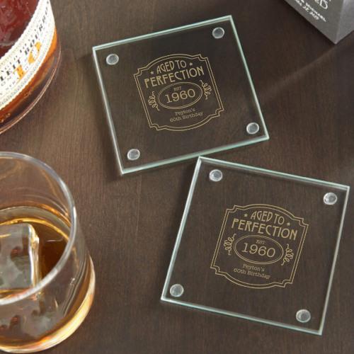 Personalized Birthday Glass Coasters