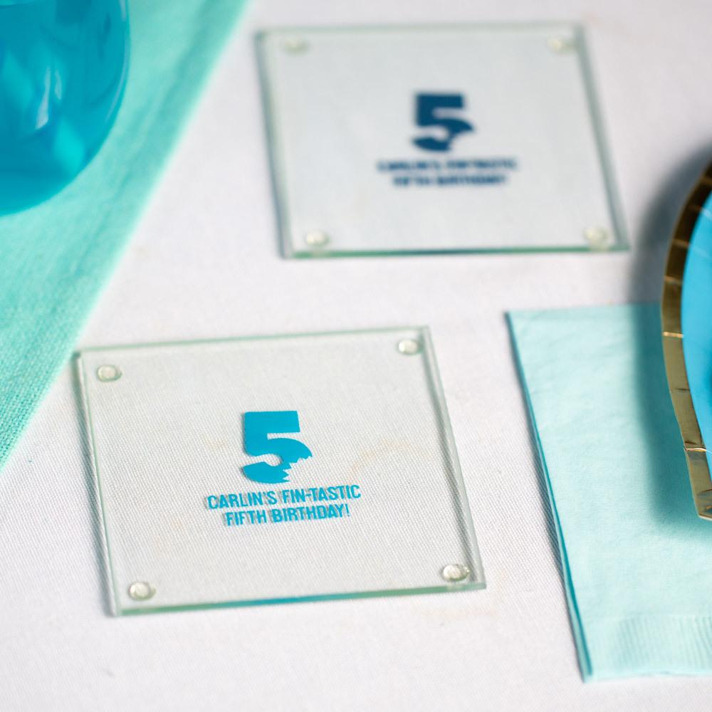 Personalized Shark Bite Birthday Glass Coasters