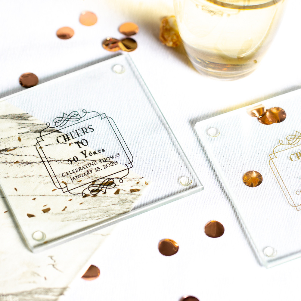 Personalized Vintage Cheers Birthday Glass Coasters