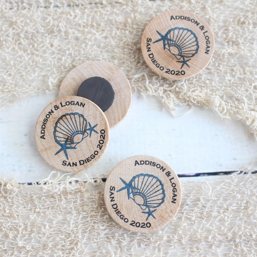 Personalized Seashell Wooden Magnets
