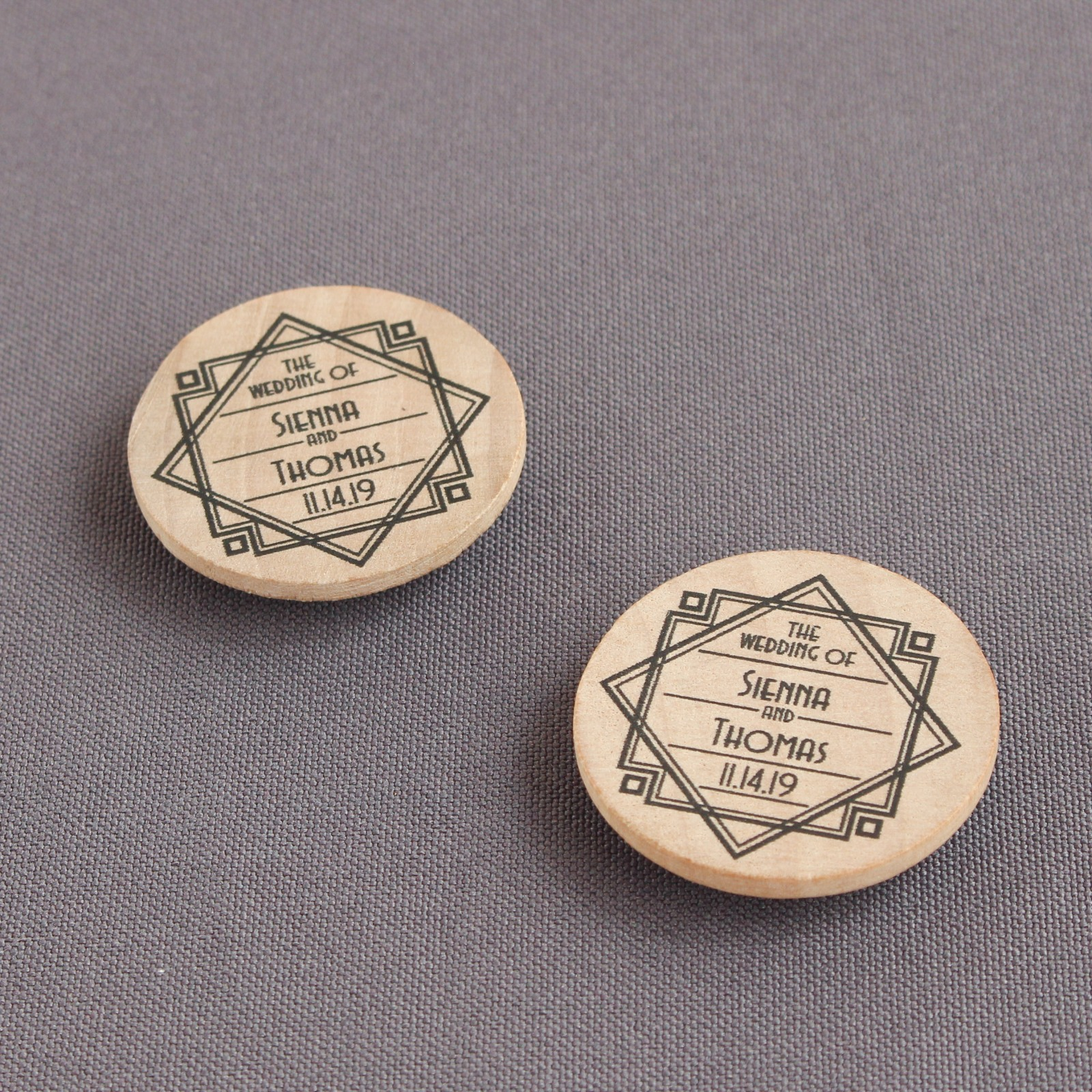 Personalized Modern Deco Wooden Wedding Magnets