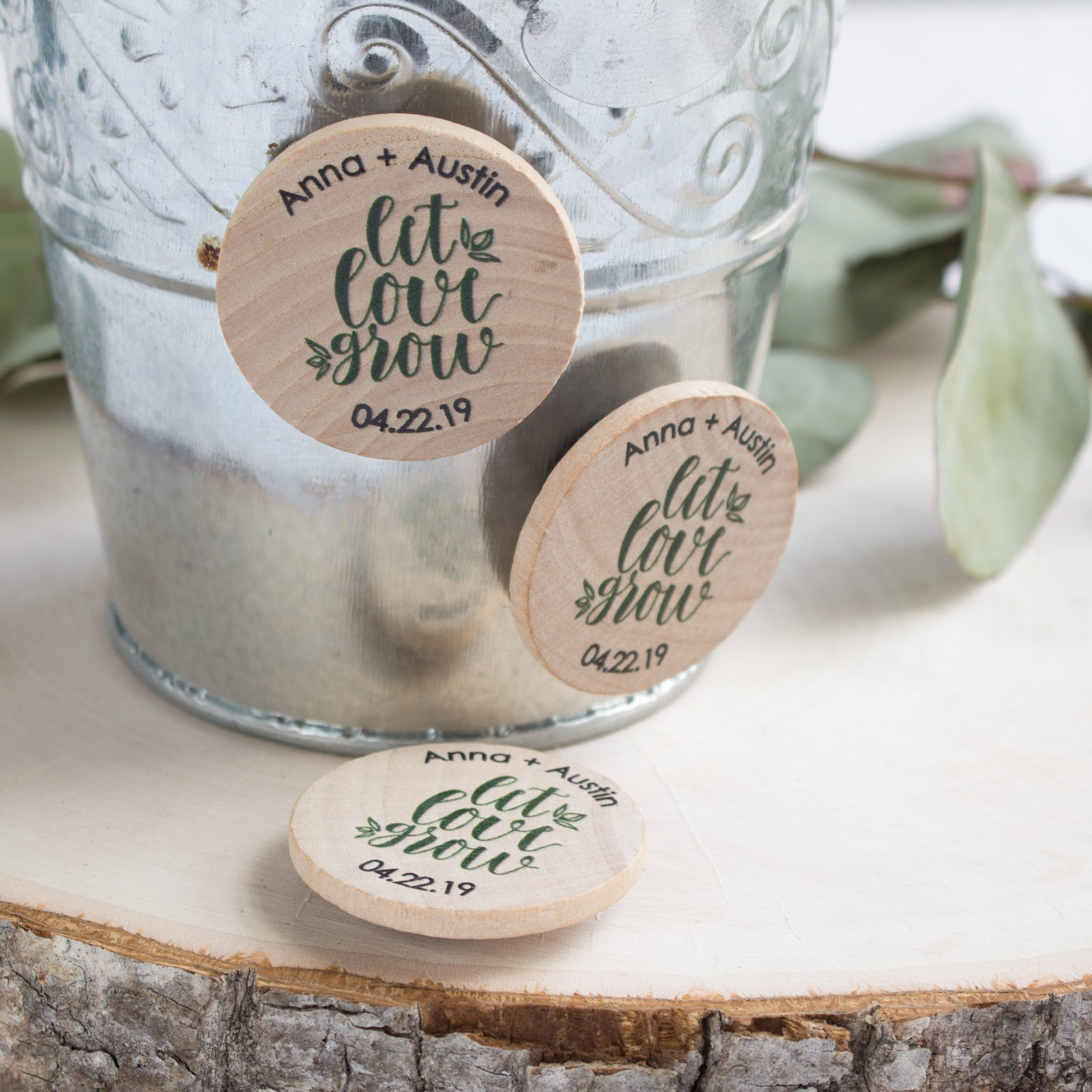 Personalized Let Love Grow Wooden Wedding Magnets