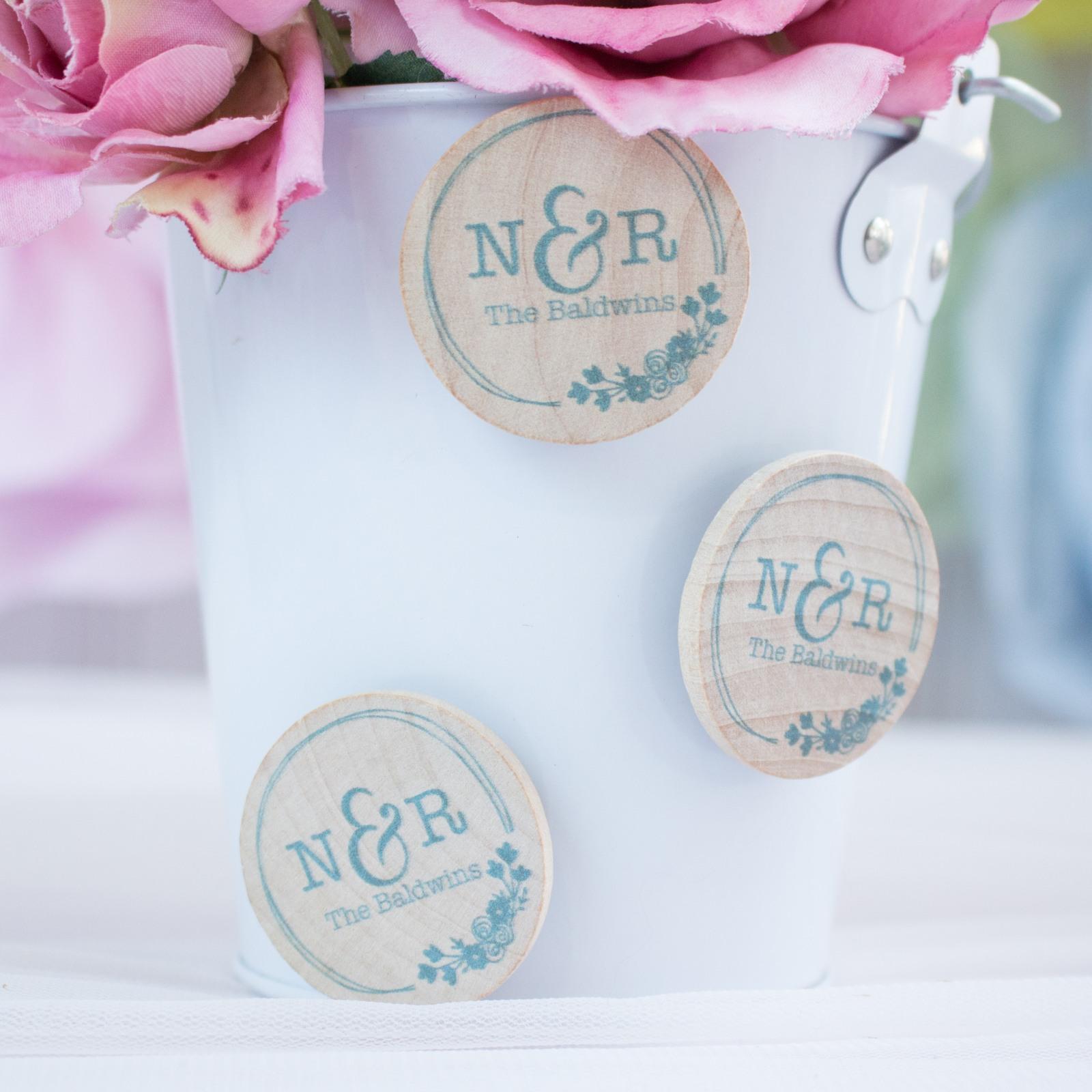 Personalized Botanical Monogram Wedding Magnets