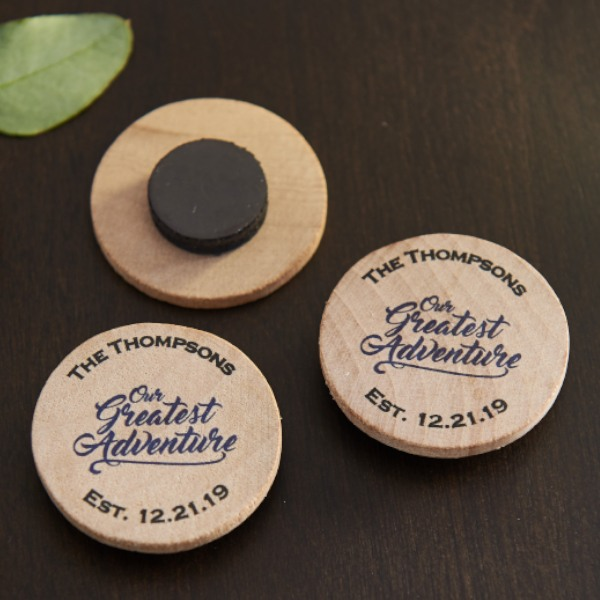 Personalized Wooden Wedding Magnets- Greatest Adventure