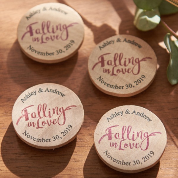Personalized Wooden Wedding Magnets - Falling In Love