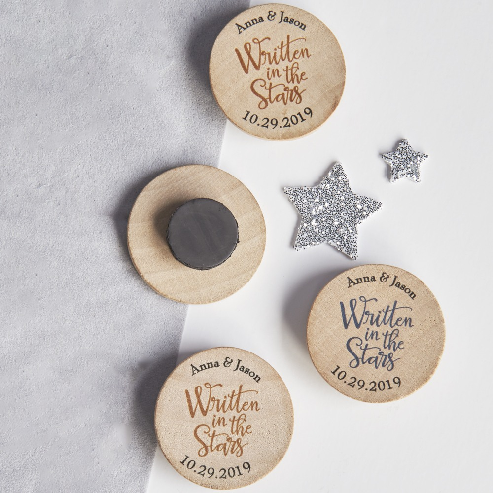 Personalized Written in the Stars Wooden Wedding Magnet