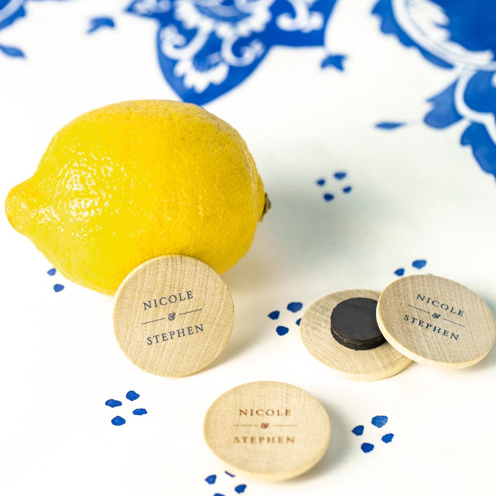Personalized Citrus Garden Wooden Wedding Magnets