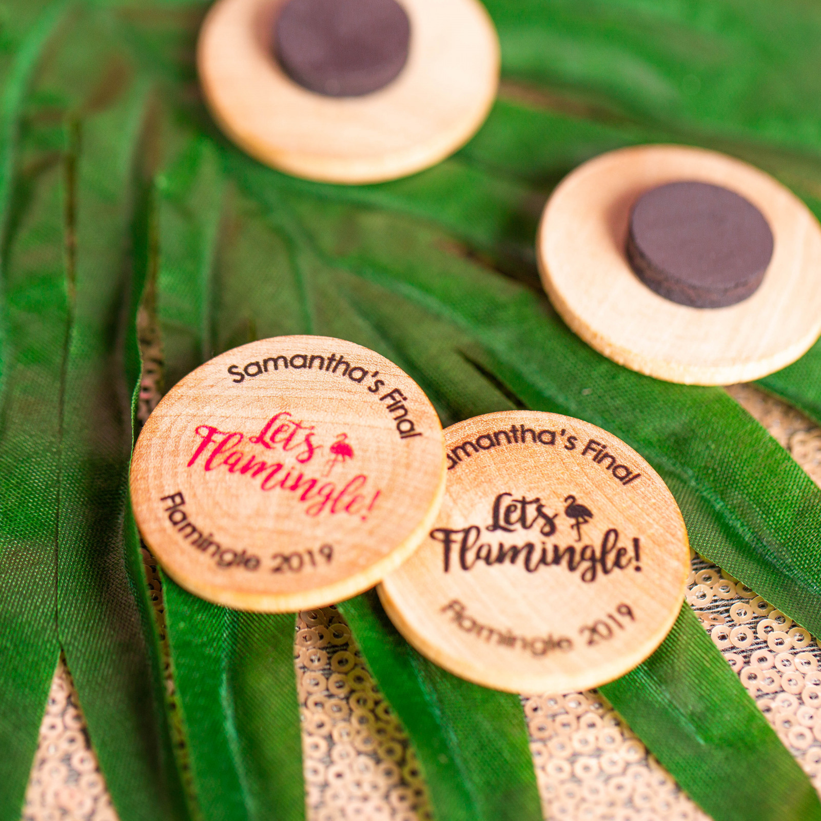 Personalized Let's Flamingle Wooden Wedding Magnets