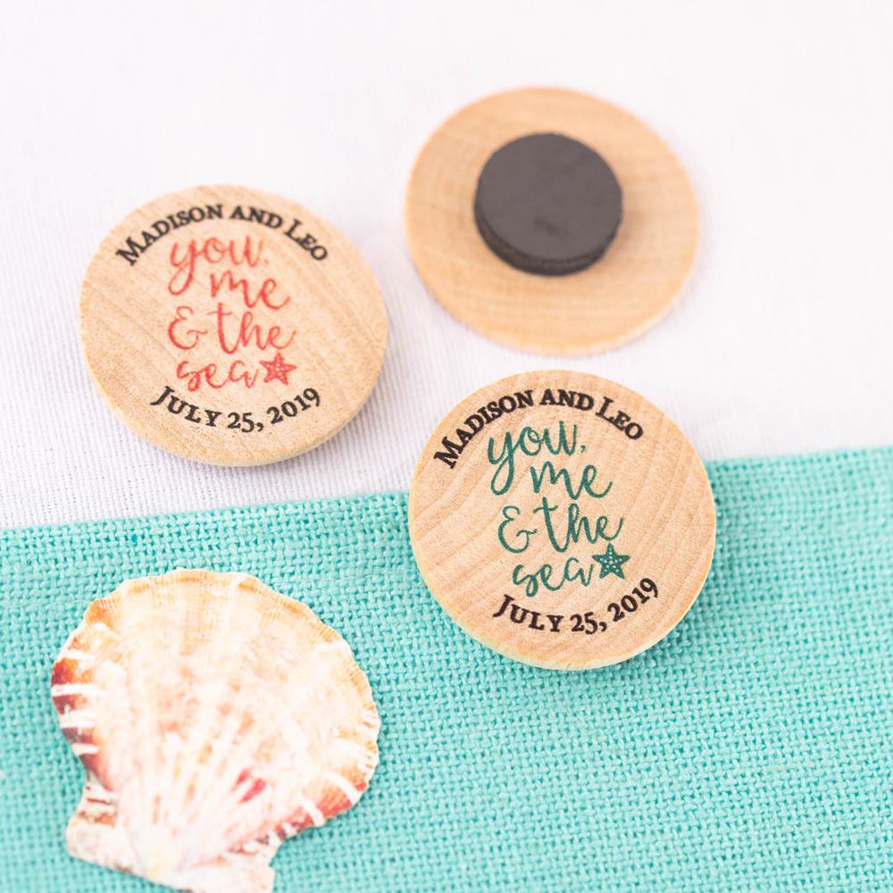 Personalized You Me & the Sea  Wooden Wedding Magnets