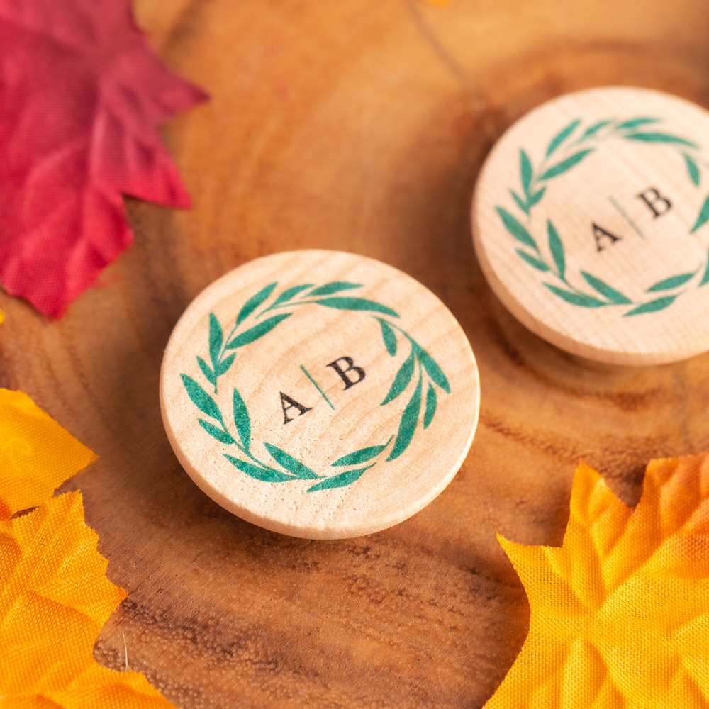 Personalized Fall Harvest Wooden Wedding Magnets