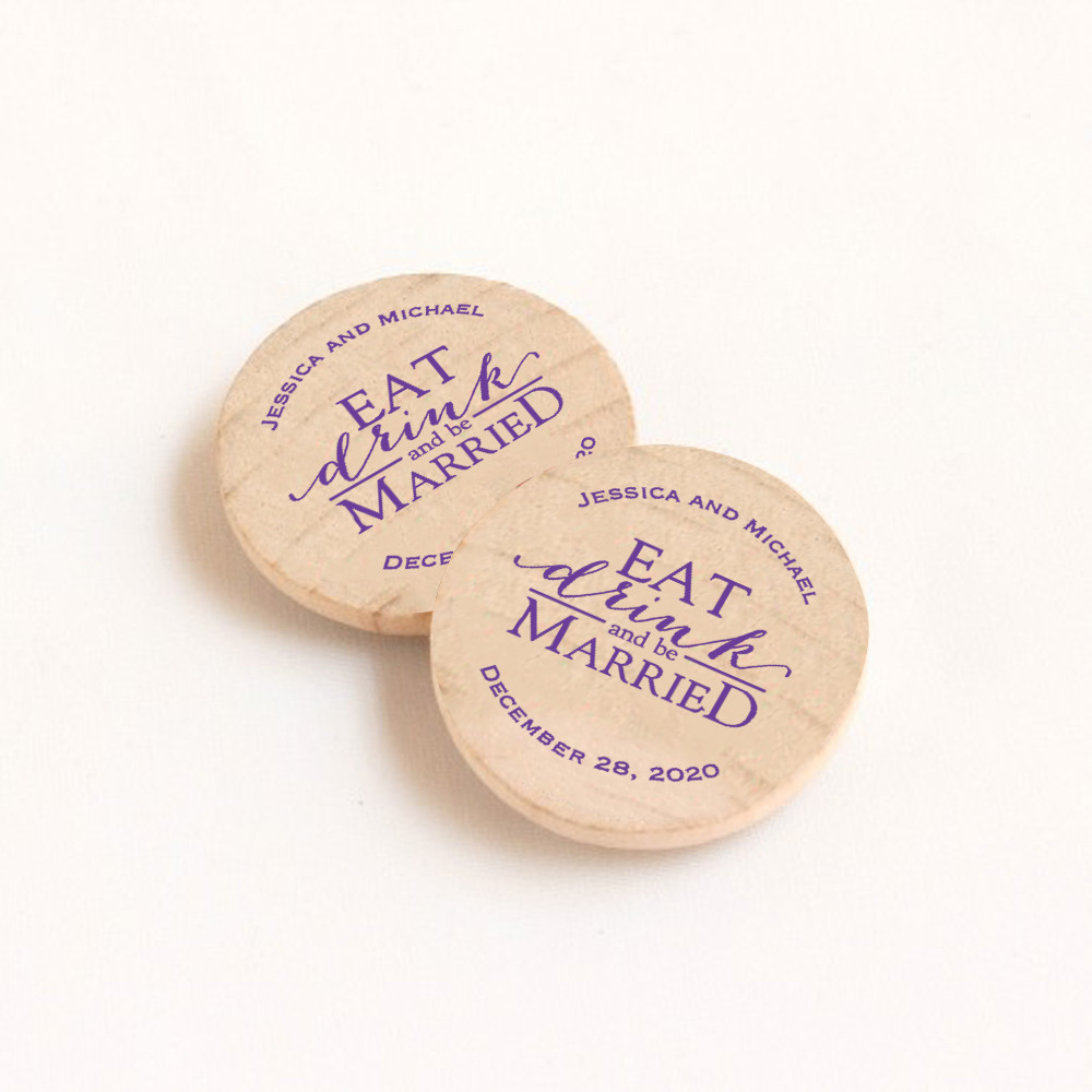 Personalized Eat Drink Be Married Wooden Wedding Magnets