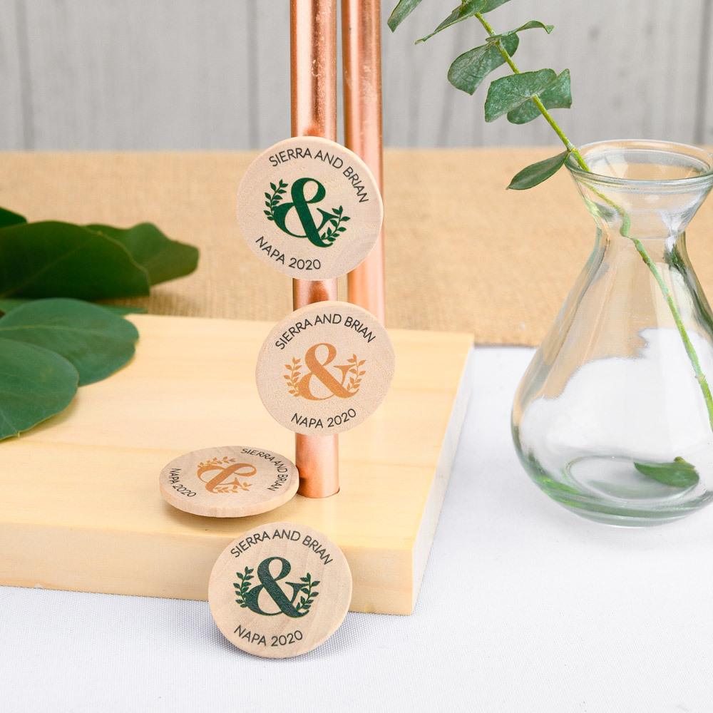 Personalized Eco Ampersand Wooden Wedding Magnets