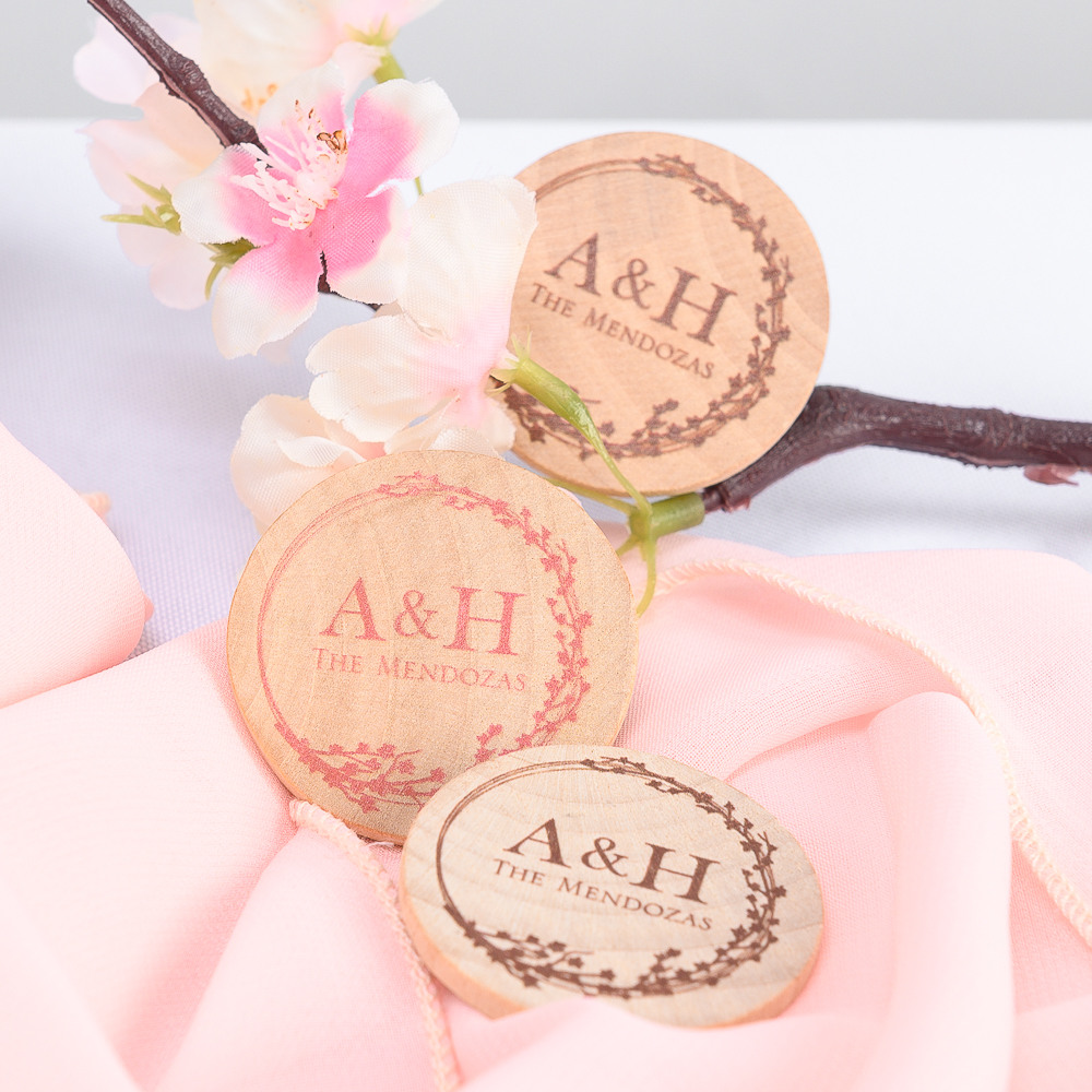 Personalized Cherry Blossom Wooden Wedding Magnets