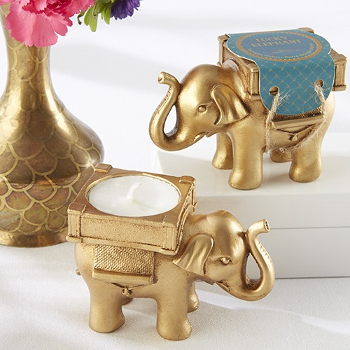 Lucky Golden Elephant Tealight Holder 8503