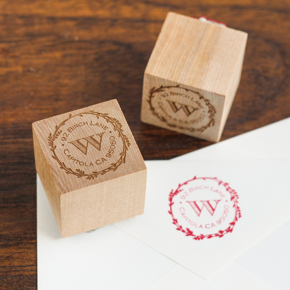 Personalized Wood Cube Stamp 8570