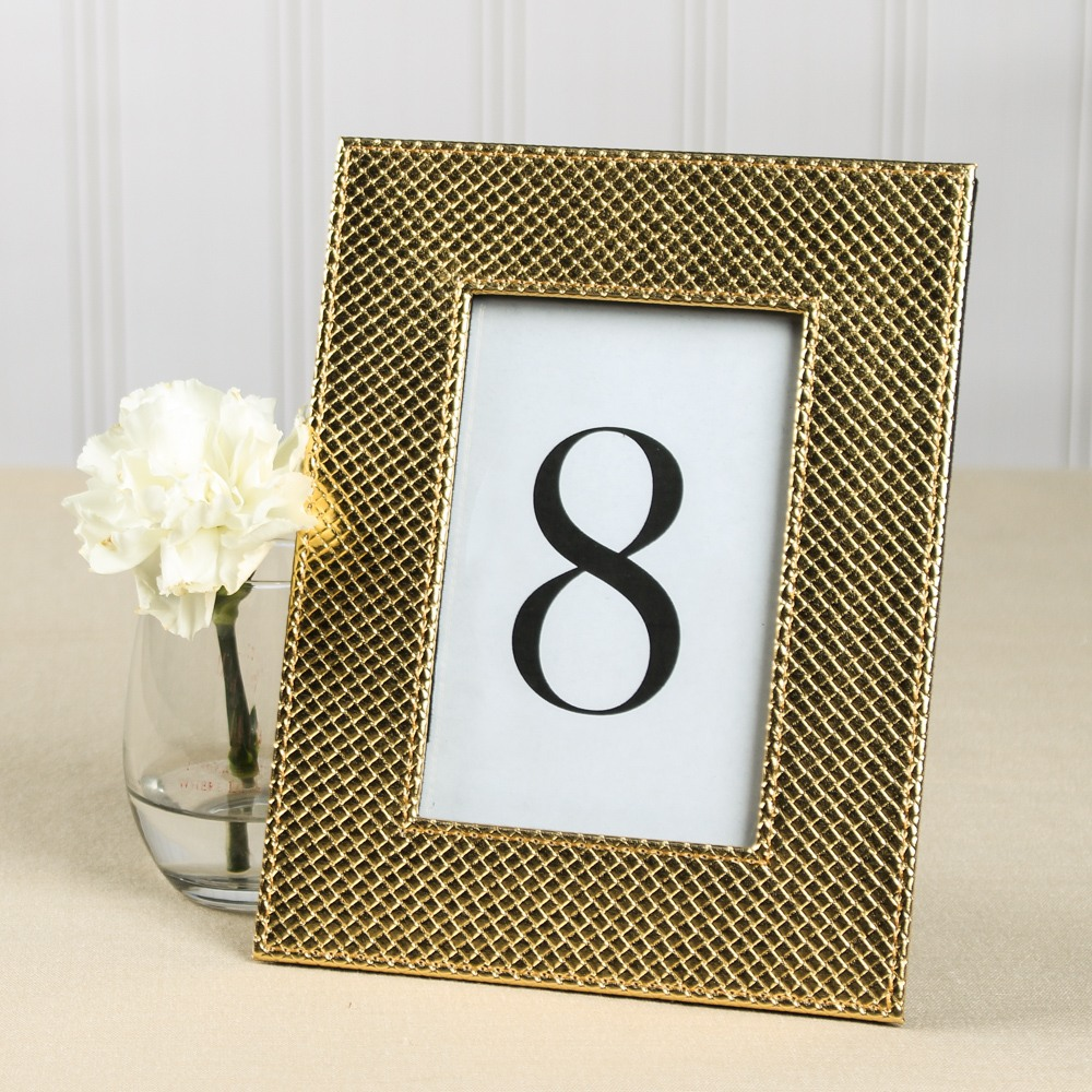 Faux Leather Metallic Frame in Gold