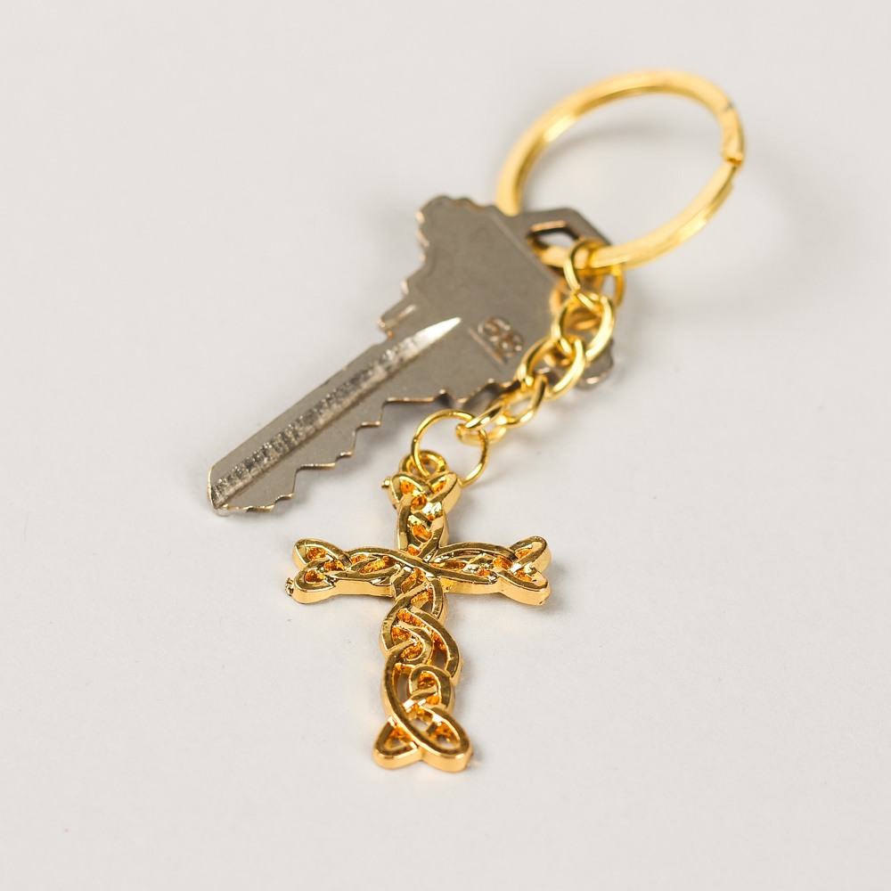 Gold Cross Keychain Favor 8656