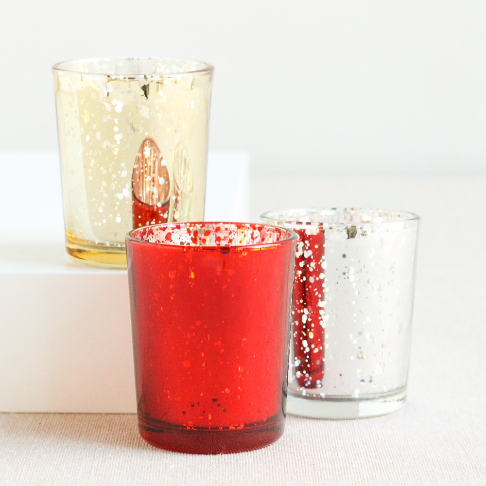 Red, Gold & Silver Mercury Glass Tealight Holders