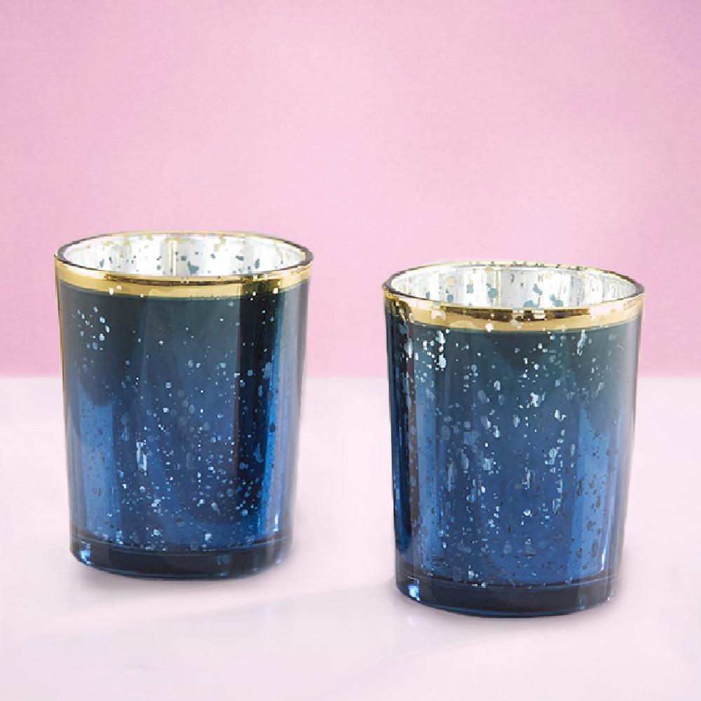 Navy Mercury Glass Tealight Holders
