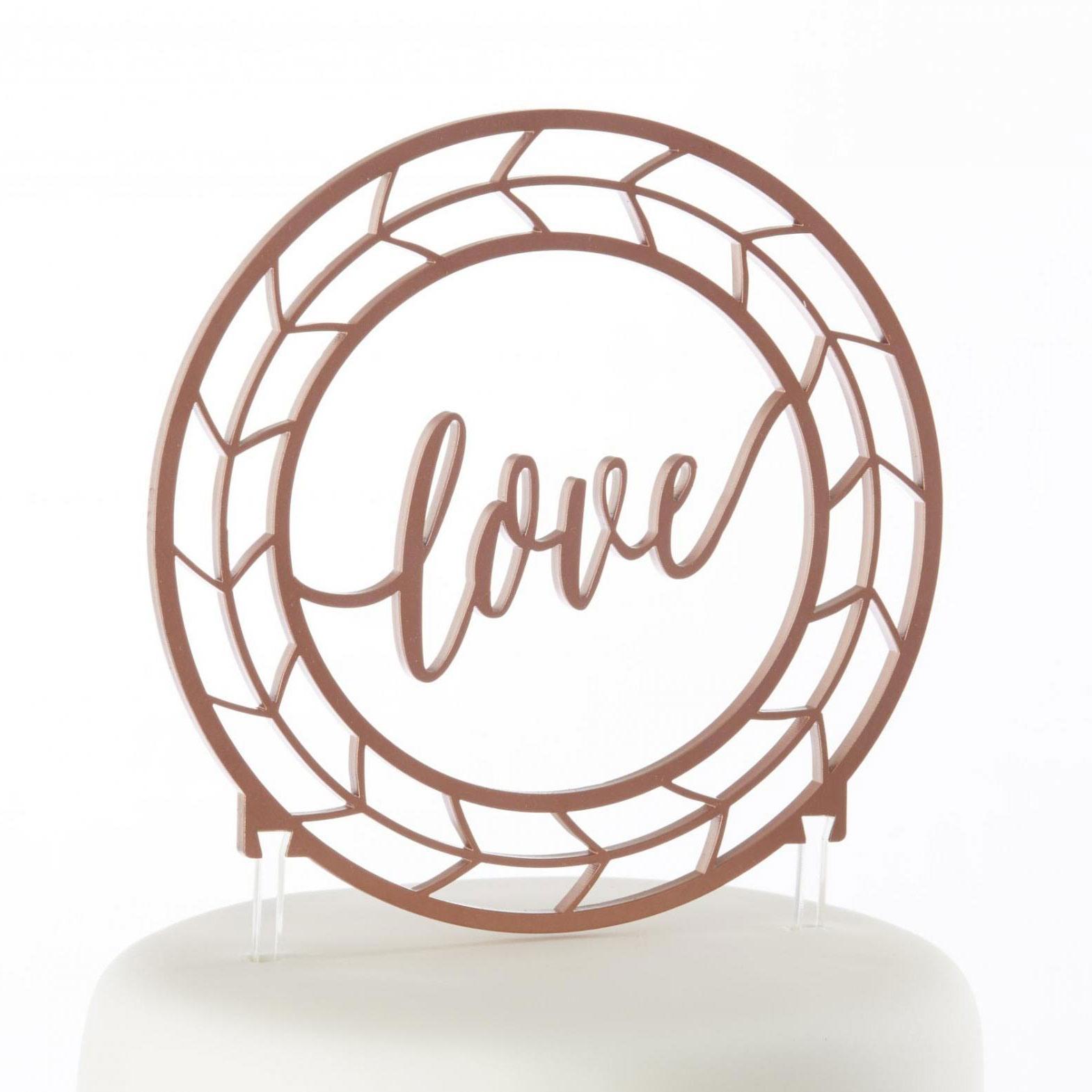 Copper Love Cake Topper Details