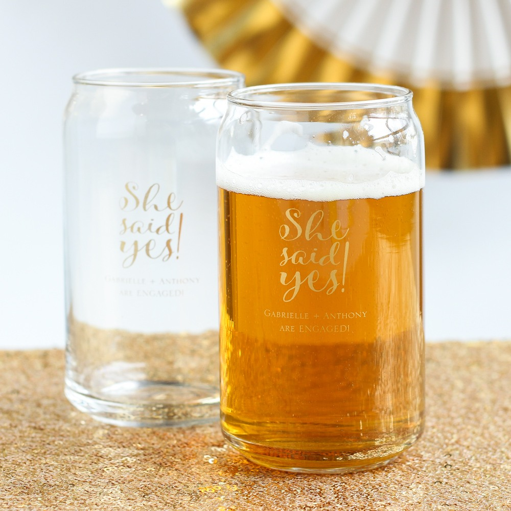Personalized Enagment Wedding Can Glass