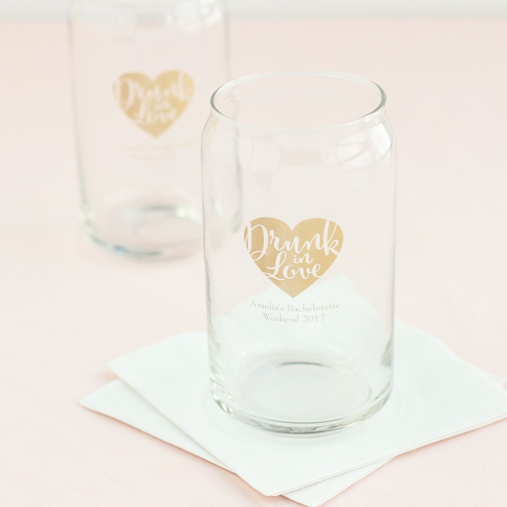Personalized Wedding Can Glass