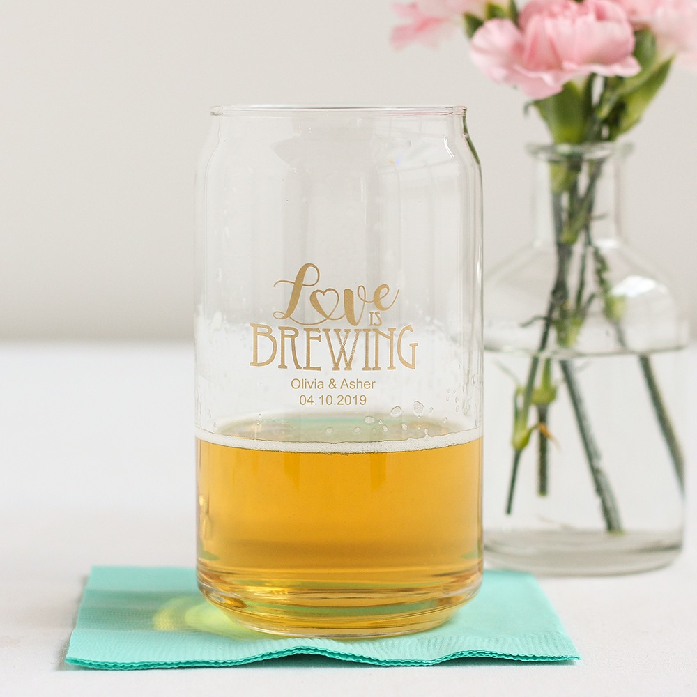 Personalized Wedding Can Glass 8741