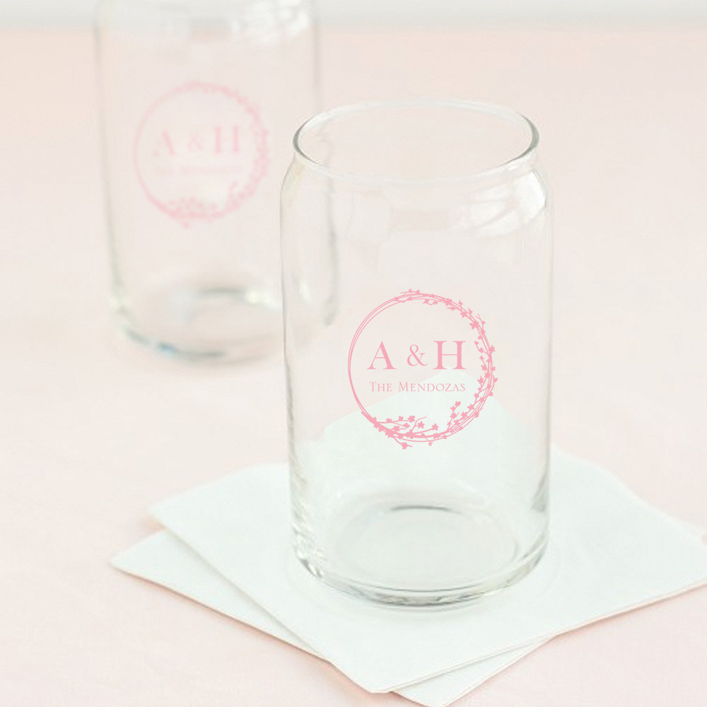 Personalized Cherry Blossom Wedding Can Glass