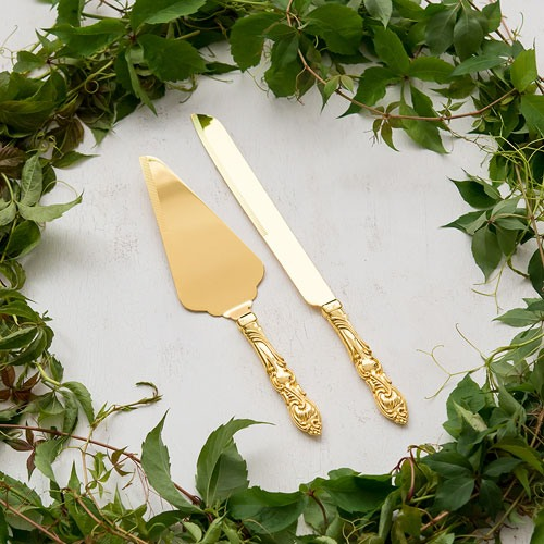 Personalized Classic Gold Cake Server Set 8757