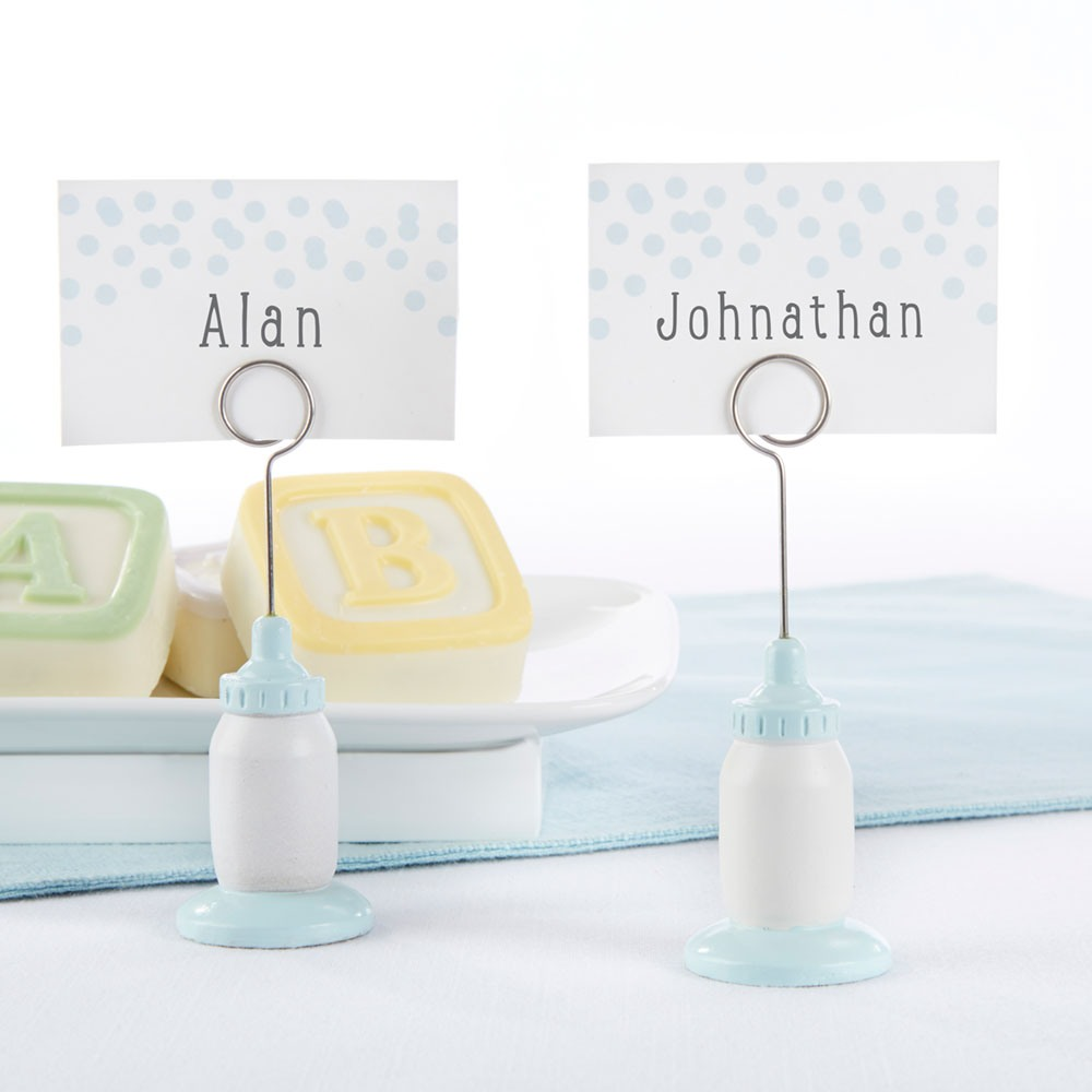 Blue Baby Bottle Place Card Holders