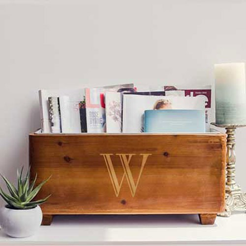 Personalized Wooden Wine Trough as Magazine Holder