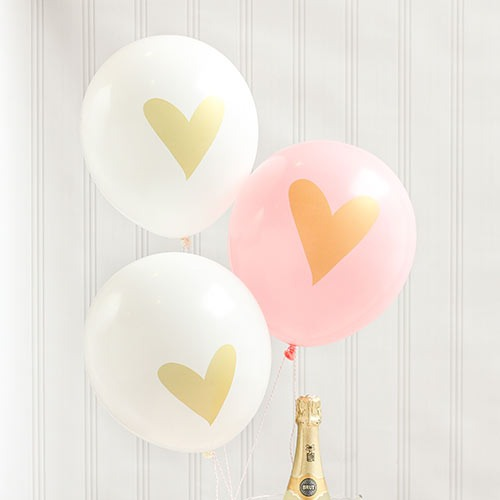 Gold Heart Balloons - Pink and White