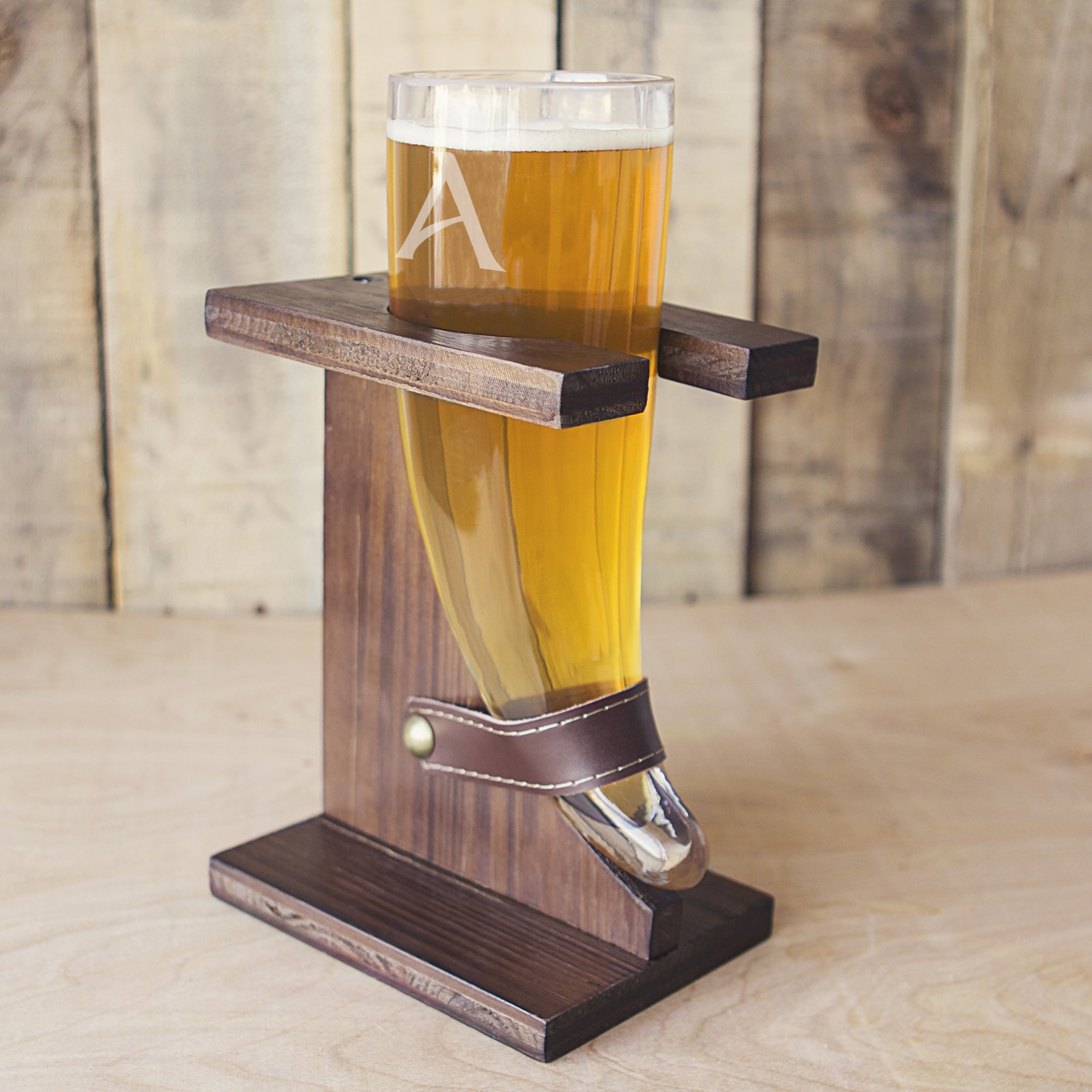 Personalized Glass Horn With Rustic Stand 8927
