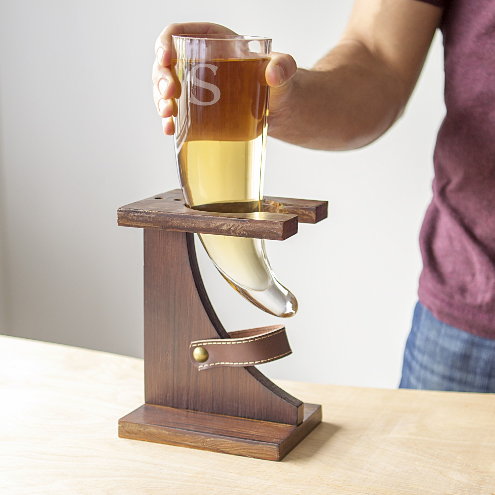 Personalized Glass Horn with Stand