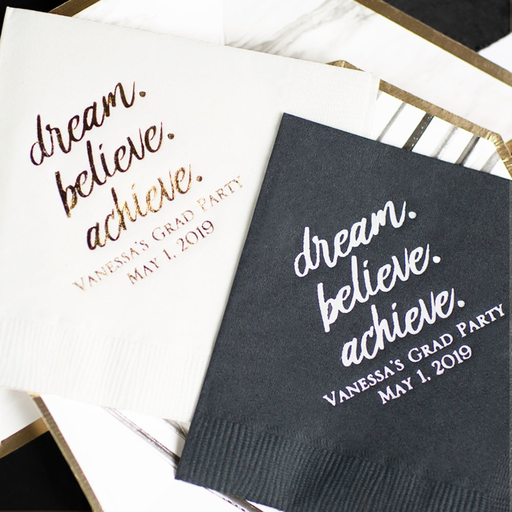 Personalized Dream Believe Exclusive Party Napkins