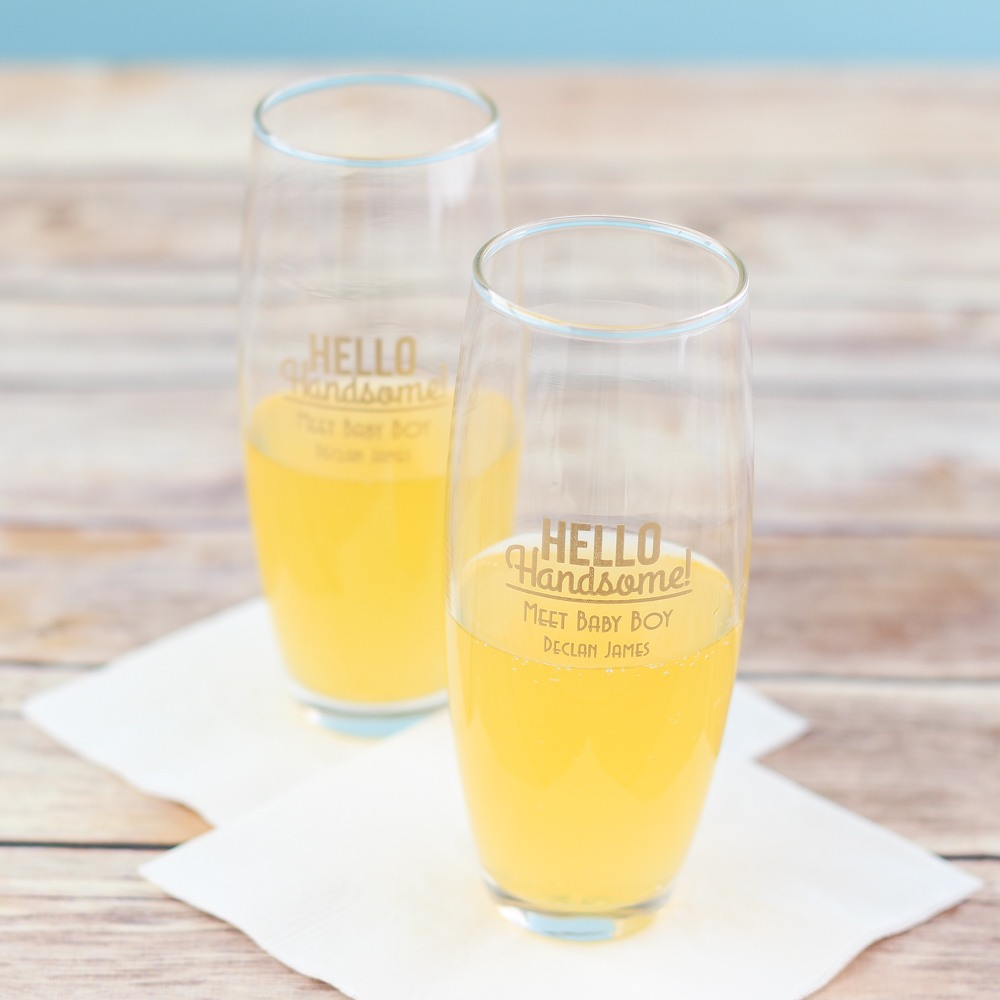 Personalized Hello Handsome Stemless Flute