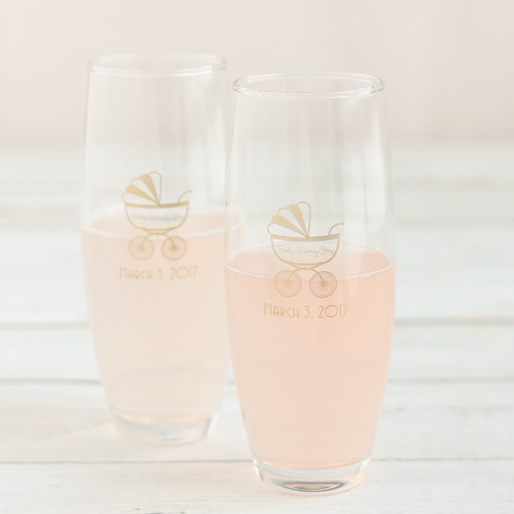 Personalized Carriage Stemless Champagne Flutes