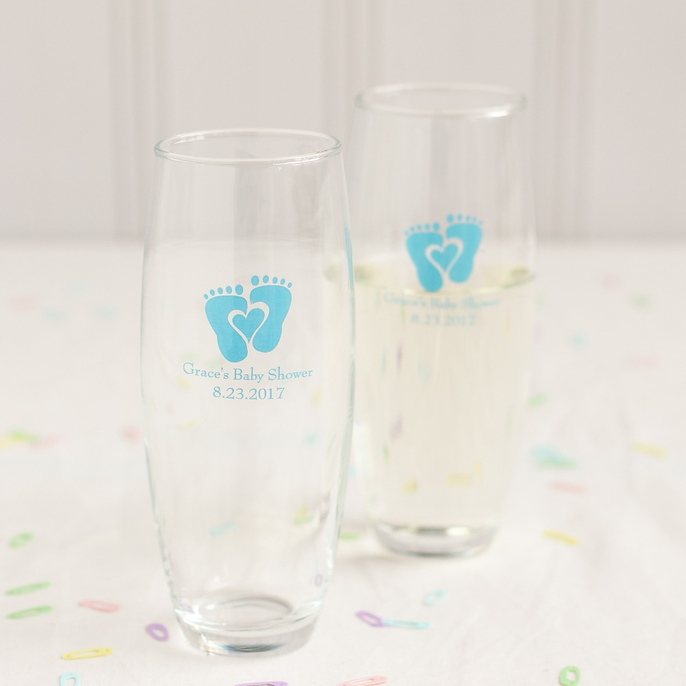 Personalized Baby Feet Stemless Champagne Flute