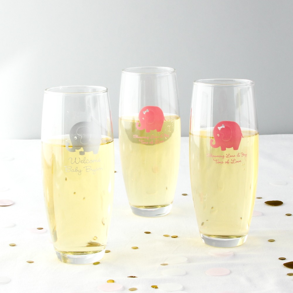 Personalized Elephant Stemless Champagne Flutes