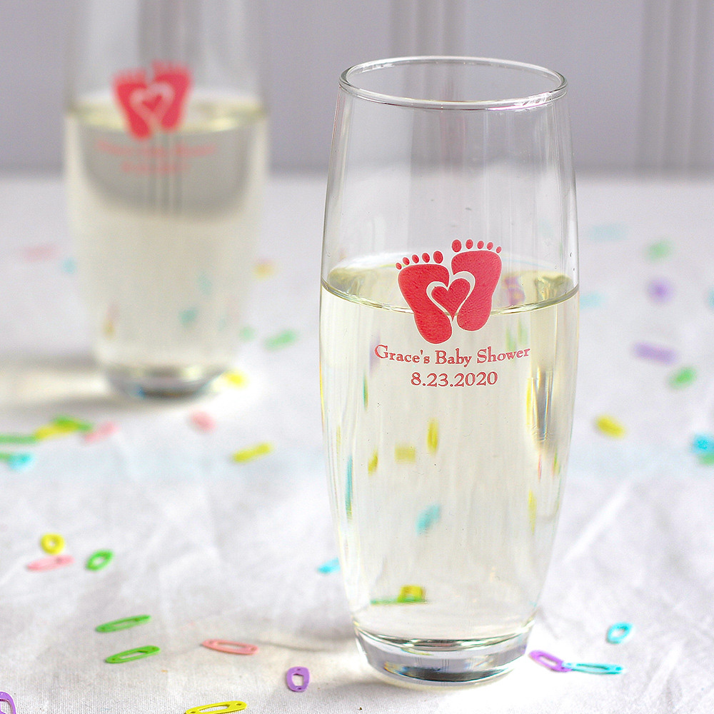Personalized Baby Feet Stemless Champagne