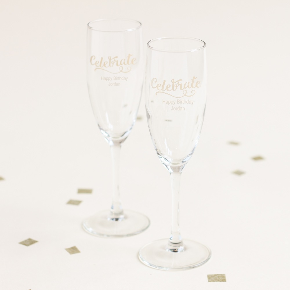Personalized Celebrate Birthday Champagne Flute Favors