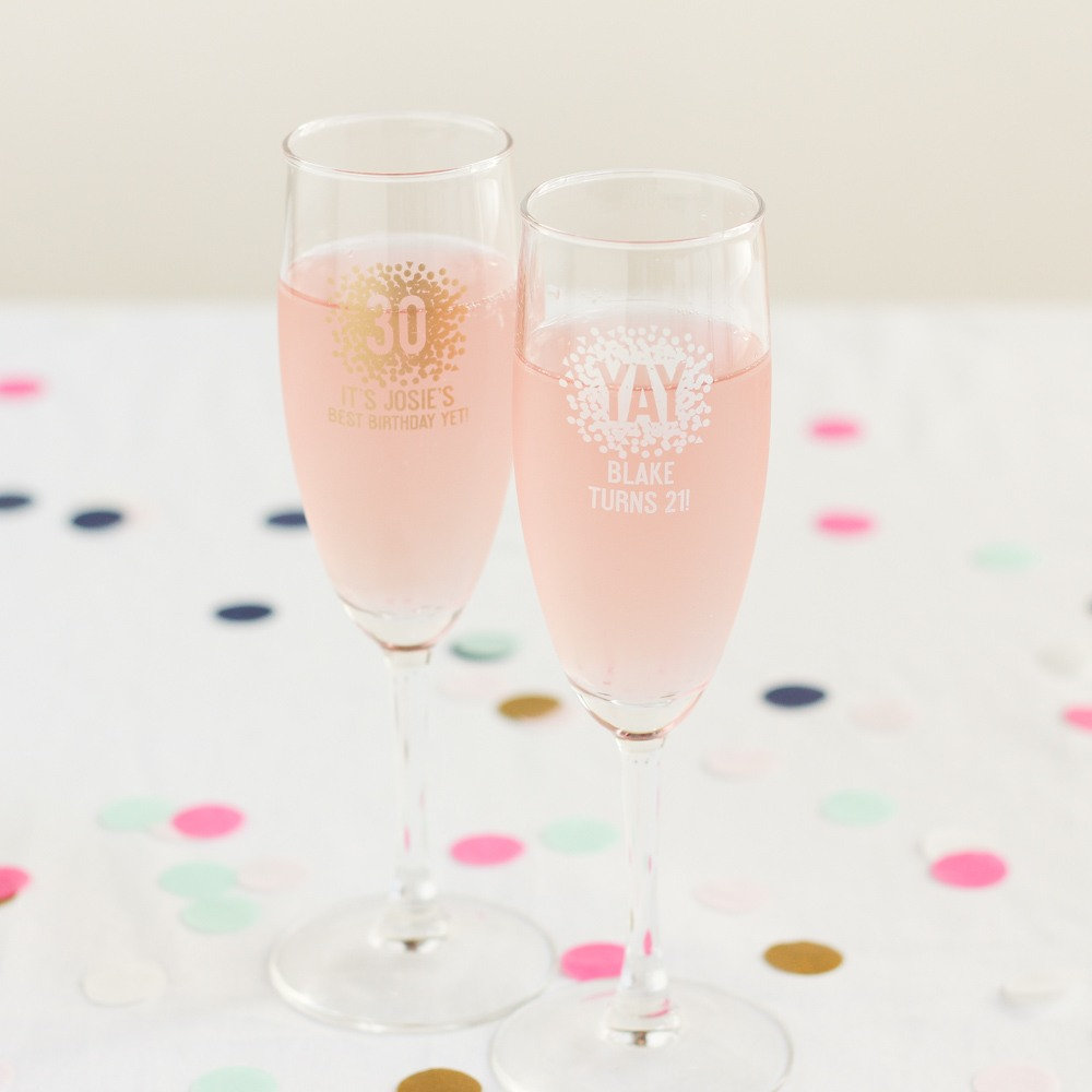 Personalized Birthday Champagne Flute Favors 9087
