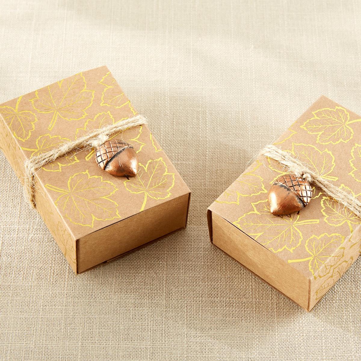gold foil leaf print kraft favor box with acorn charm