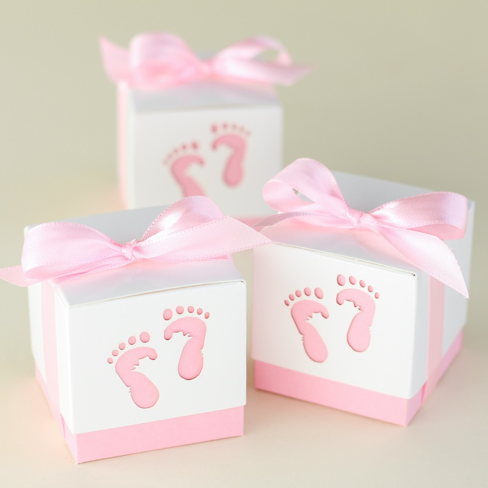 Baby feet favor boxes in Pink