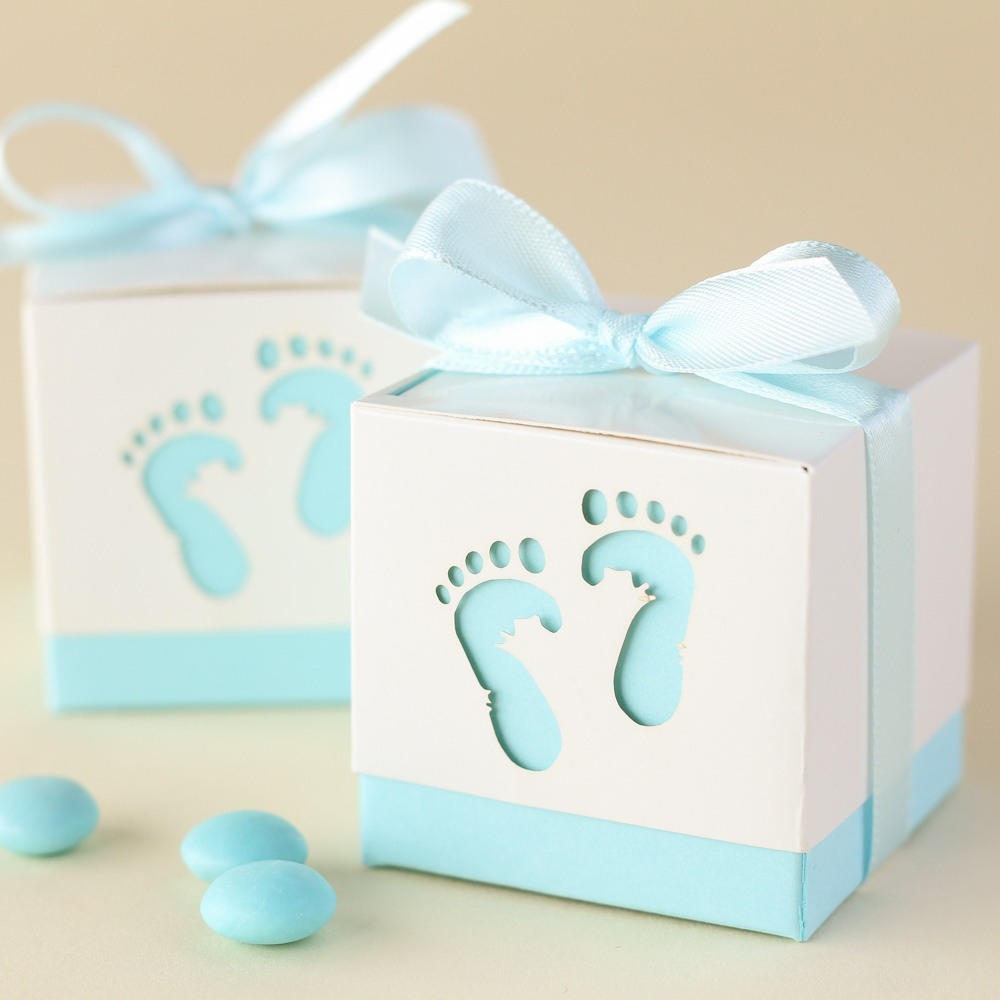 Baby feet favor boxes in Blue