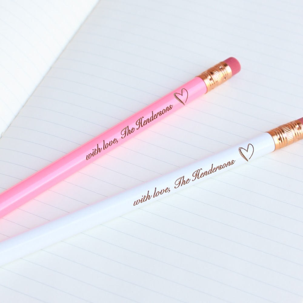 Personalized Heart Wedding Pencils