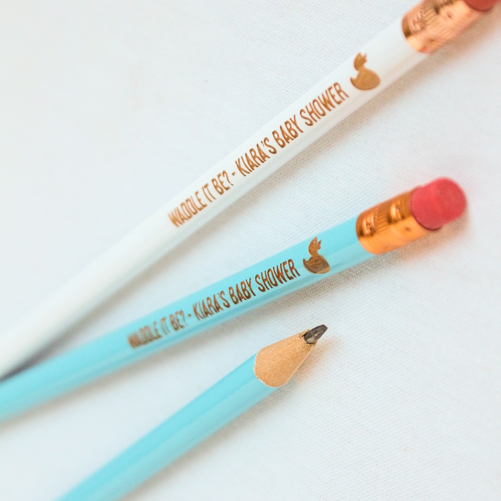 Personalized Duck Baby Shower Pencils